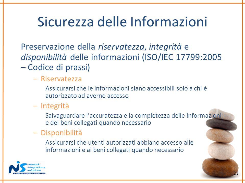 21 Sicurezza delle Informazioni Preservazione della riservatezza, integrità e disponibilità delle informazioni (ISO/IEC 17799:2005 – Codice di prassi)