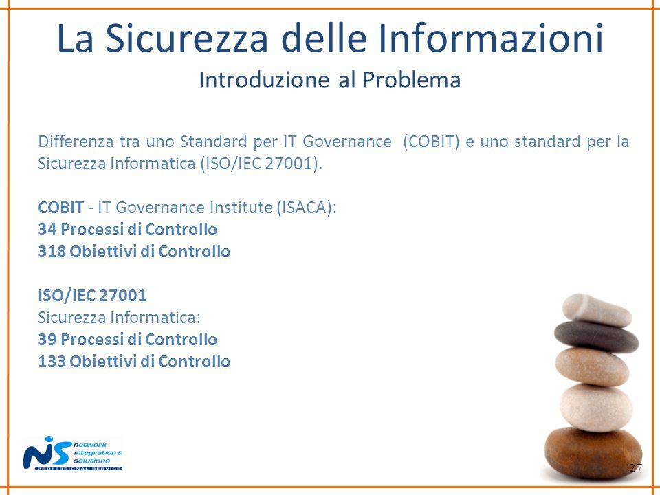 27 La Sicurezza delle Informazioni Introduzione al Problema Differenza tra uno Standard per IT Governance (COBIT) e uno standard per la Sicurezza Info