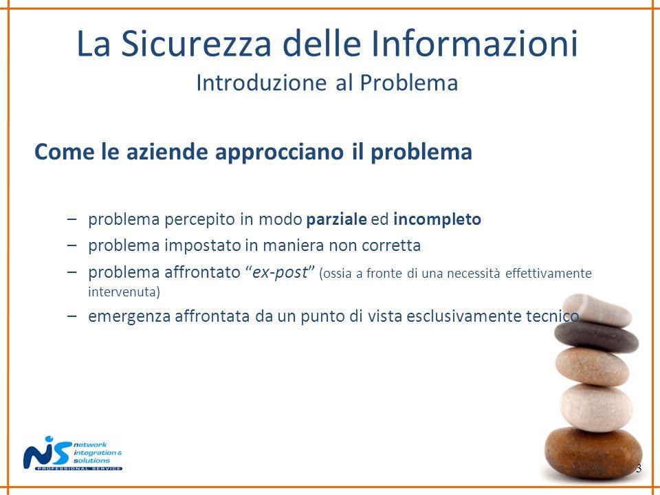 3 La Sicurezza delle Informazioni Introduzione al Problema Come le aziende approcciano il problema –problema percepito in modo parziale ed incompleto