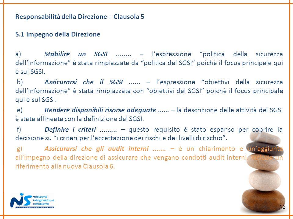 32 Responsabilità della Direzione – Clausola 5 5.1 Impegno della Direzione a)Stabilire un SGSI........ – lespressione politica della sicurezza dellinf