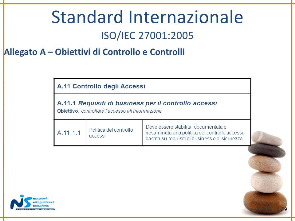 39 Standard Internazionale ISO/IEC 27001:2005 Allegato A – Obiettivi di Controllo e Controlli A.11 Controllo degli Accessi A.11.1 Requisiti di busines