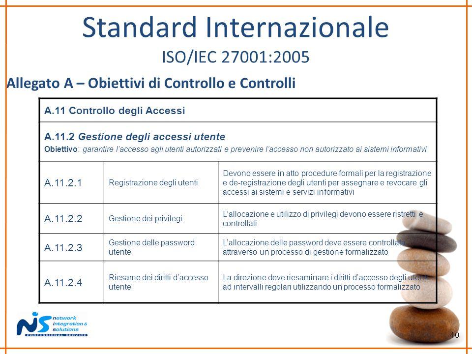 40 Standard Internazionale ISO/IEC 27001:2005 Allegato A – Obiettivi di Controllo e Controlli A.11 Controllo degli Accessi A.11.2 Gestione degli acces