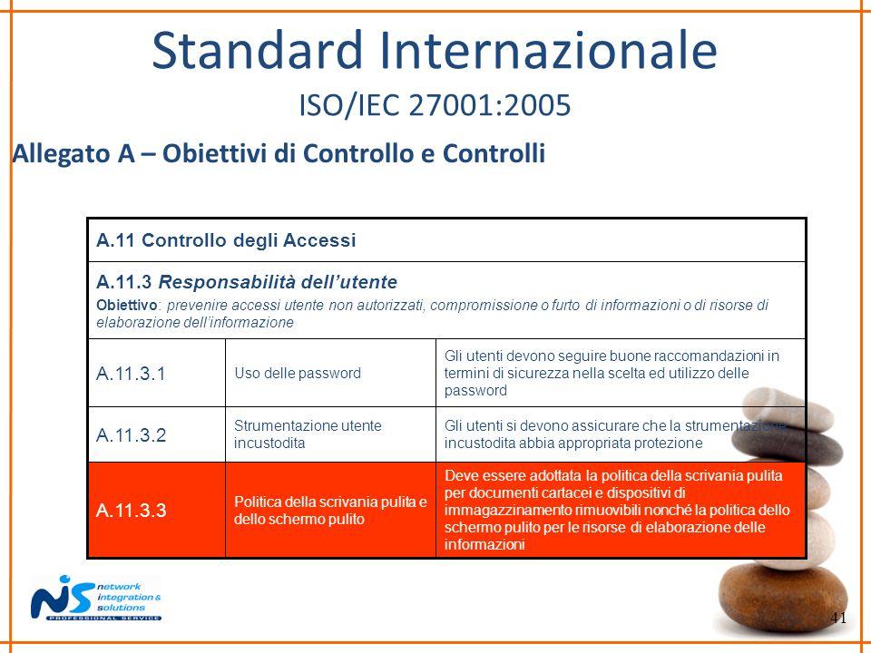 41 Standard Internazionale ISO/IEC 27001:2005 Allegato A – Obiettivi di Controllo e Controlli Gli utenti devono seguire buone raccomandazioni in termi