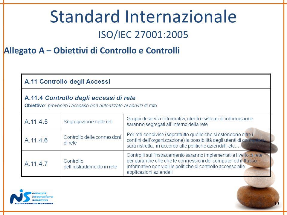 43 Standard Internazionale ISO/IEC 27001:2005 Allegato A – Obiettivi di Controllo e Controlli A.11 Controllo degli Accessi A.11.4 Controllo degli acce