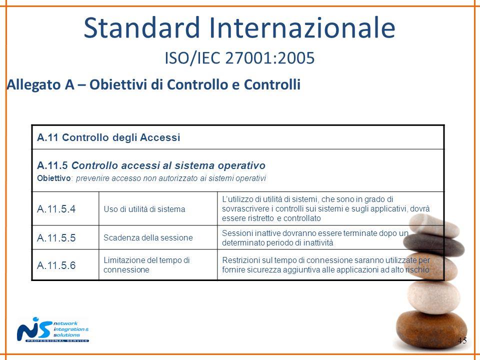 45 Standard Internazionale ISO/IEC 27001:2005 Allegato A – Obiettivi di Controllo e Controlli A.11 Controllo degli Accessi A.11.5 Controllo accessi al
