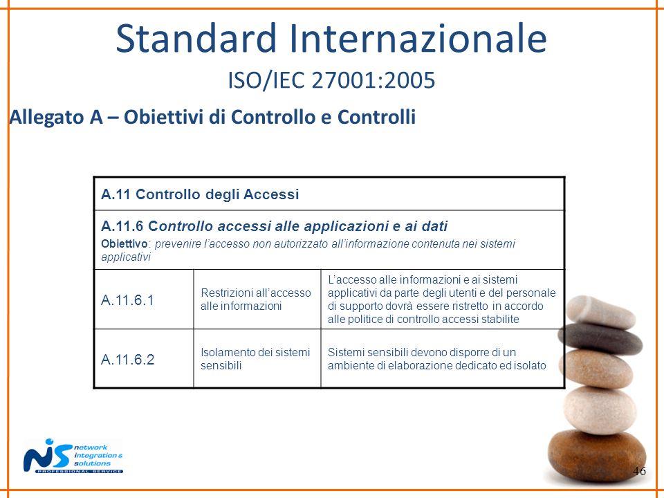 46 Standard Internazionale ISO/IEC 27001:2005 Allegato A – Obiettivi di Controllo e Controlli A.11 Controllo degli Accessi A.11.6 Controllo accessi al