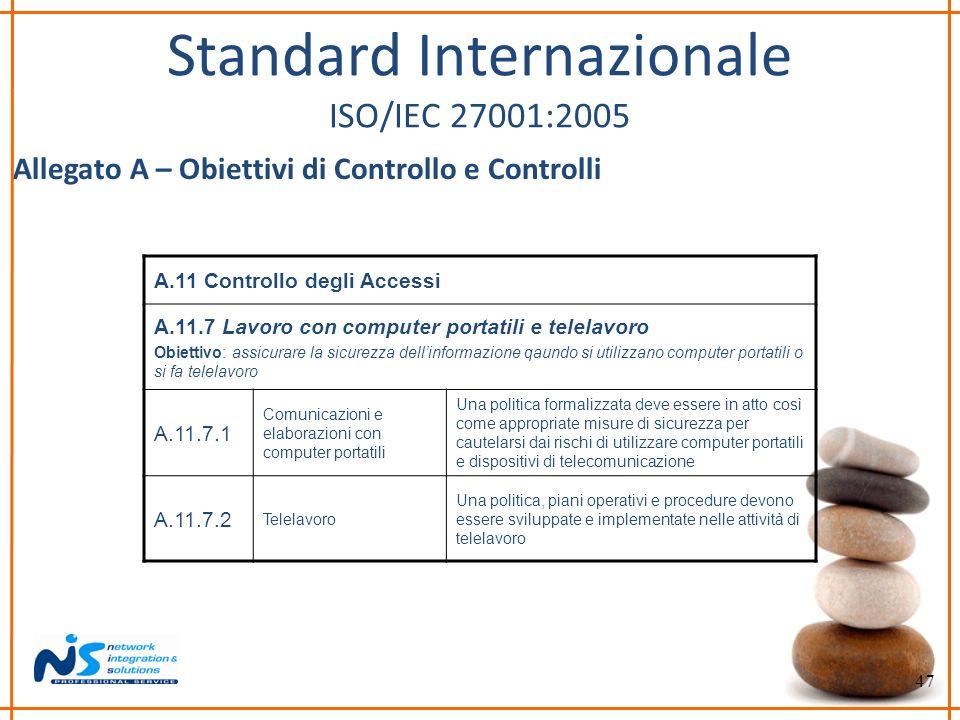 47 Standard Internazionale ISO/IEC 27001:2005 Allegato A – Obiettivi di Controllo e Controlli A.11 Controllo degli Accessi A.11.7 Lavoro con computer