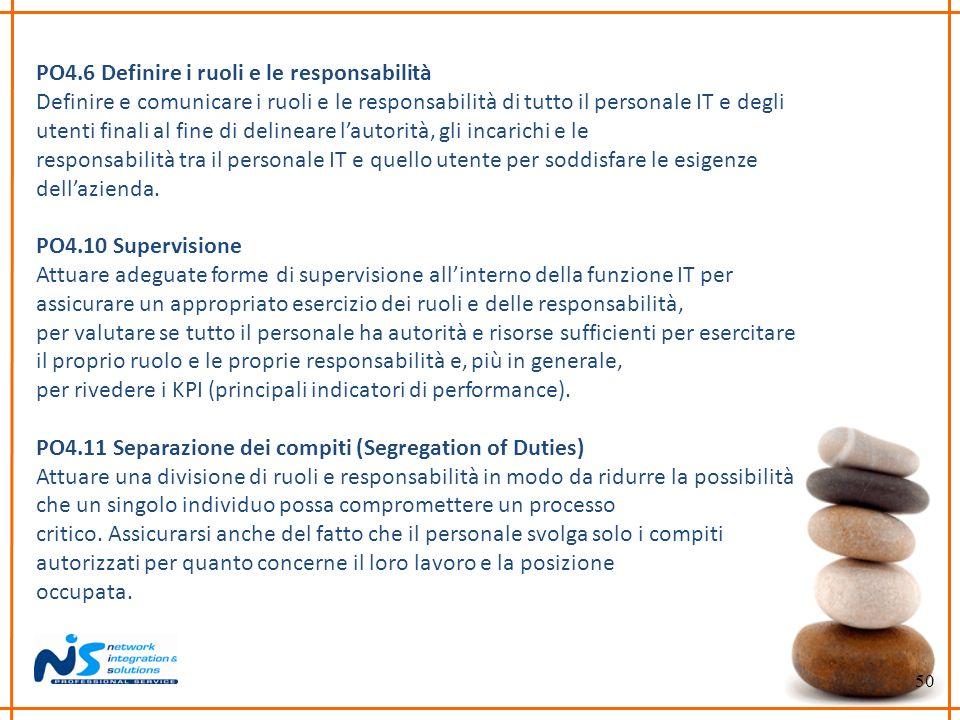 50 PO4.6 Definire i ruoli e le responsabilità Definire e comunicare i ruoli e le responsabilità di tutto il personale IT e degli utenti finali al fine