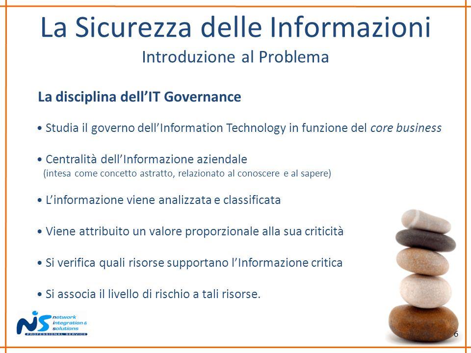 6 La Sicurezza delle Informazioni Introduzione al Problema La disciplina dellIT Governance Studia il governo dellInformation Technology in funzione de