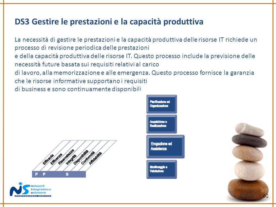 62 DS3 Gestire le prestazioni e la capacità produttiva La necessità di gestire le prestazioni e la capacità produttiva delle risorse IT richiede un pr