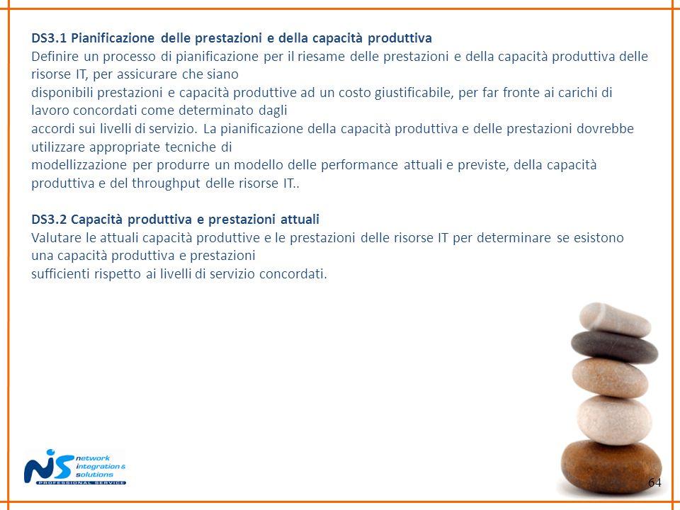 64 DS3.1 Pianificazione delle prestazioni e della capacità produttiva Definire un processo di pianificazione per il riesame delle prestazioni e della