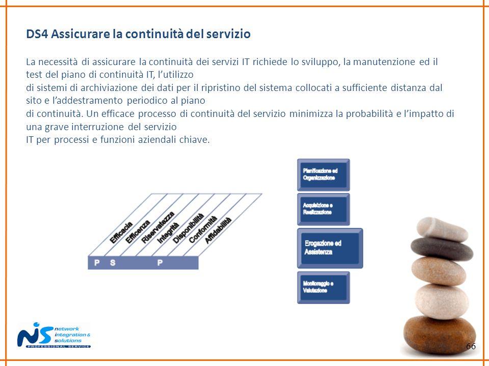 66 DS4 Assicurare la continuità del servizio La necessità di assicurare la continuità dei servizi IT richiede lo sviluppo, la manutenzione ed il test