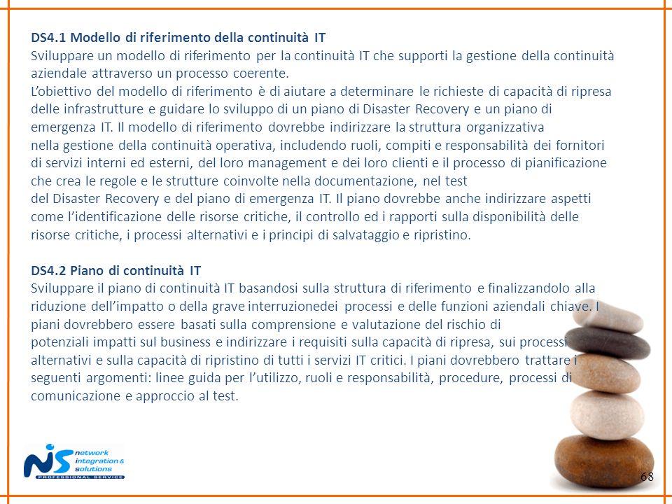 68 DS4.1 Modello di riferimento della continuità IT Sviluppare un modello di riferimento per la continuità IT che supporti la gestione della continuit