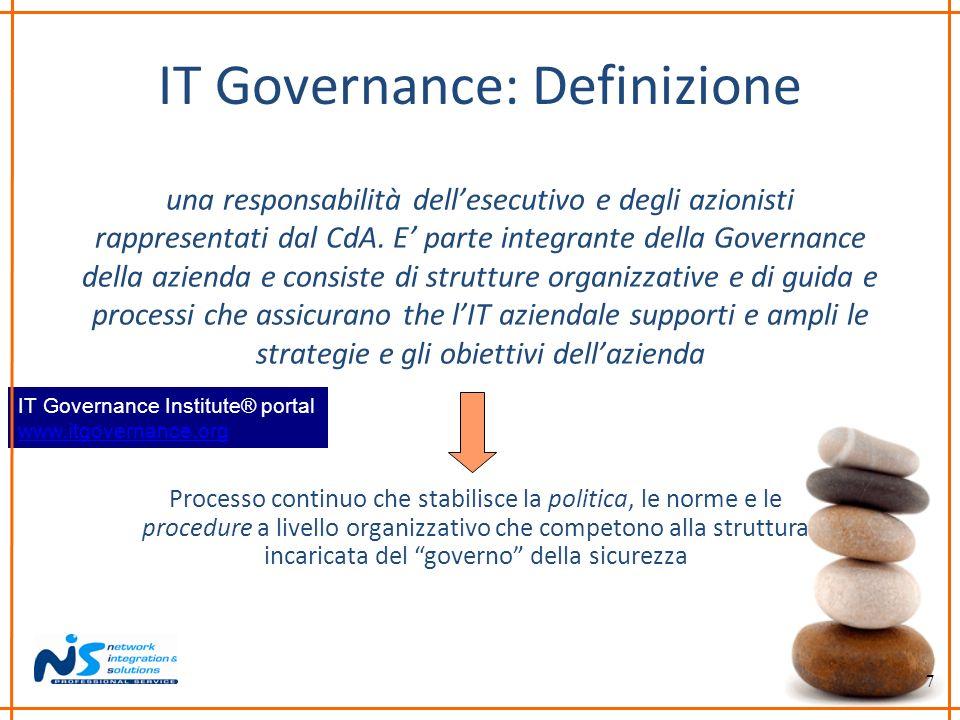 7 IT Governance: Definizione una responsabilità dellesecutivo e degli azionisti rappresentati dal CdA. E parte integrante della Governance della azien