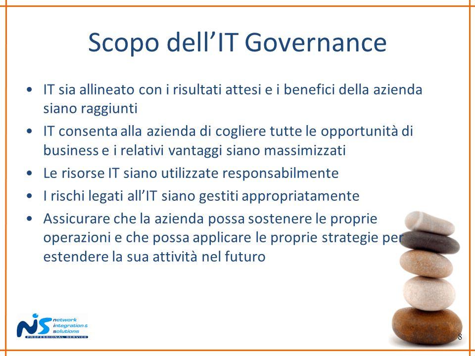 8 Scopo dellIT Governance IT sia allineato con i risultati attesi e i benefici della azienda siano raggiunti IT consenta alla azienda di cogliere tutt