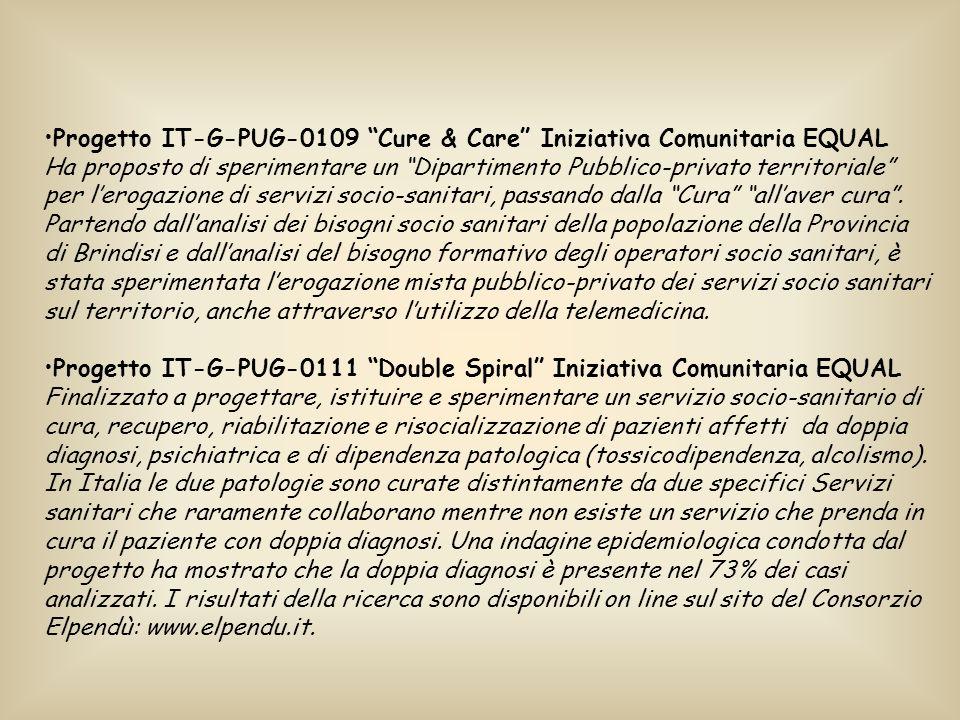 Progetto IT-G-PUG-0109 Cure & Care Iniziativa Comunitaria EQUAL Ha proposto di sperimentare un Dipartimento Pubblico-privato territoriale per lerogazione di servizi socio-sanitari, passando dalla Cura allaver cura.
