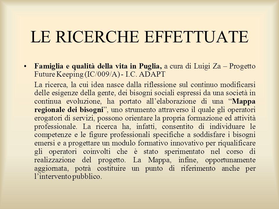 LE RICERCHE EFFETTUATE Famiglia e qualità della vita in Puglia, a cura di Luigi Za – Progetto Future Keeping (IC/009/A) - I.C.