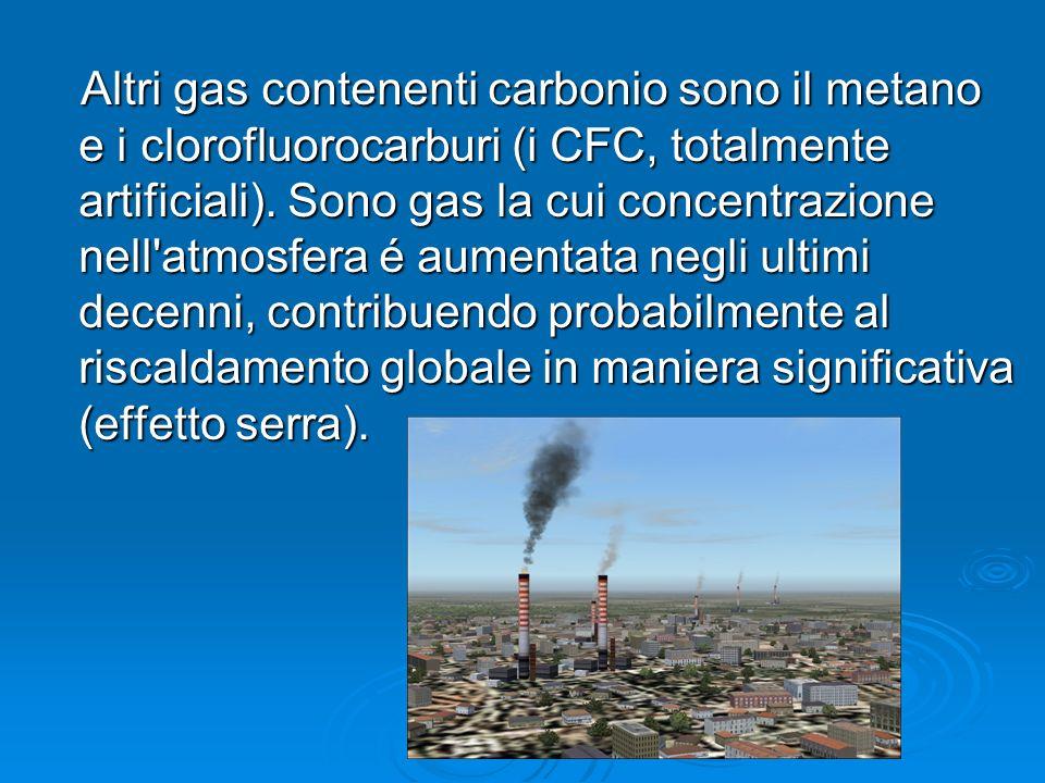 Altri gas contenenti carbonio sono il metano e i clorofluorocarburi (i CFC, totalmente artificiali). Sono gas la cui concentrazione nell'atmosfera é a