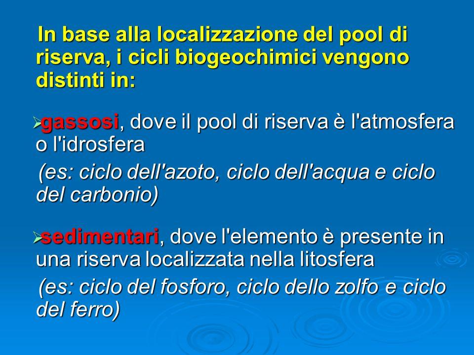 In base alla localizzazione del pool di riserva, i cicli biogeochimici vengono distinti in: In base alla localizzazione del pool di riserva, i cicli b