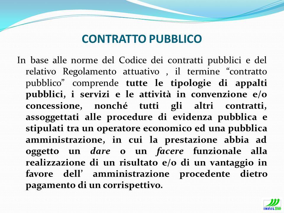 CONTRATTO PUBBLICO In base alle norme del Codice dei contratti pubblici e del relativo Regolamento attuativo, il termine contratto pubblico comprende