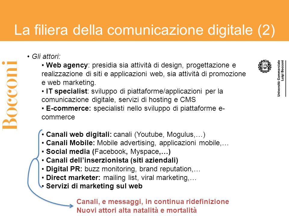 La filiera della comunicazione digitale (2) Gli attori: Web agency: presidia sia attività di design, progettazione e realizzazione di siti e applicazi