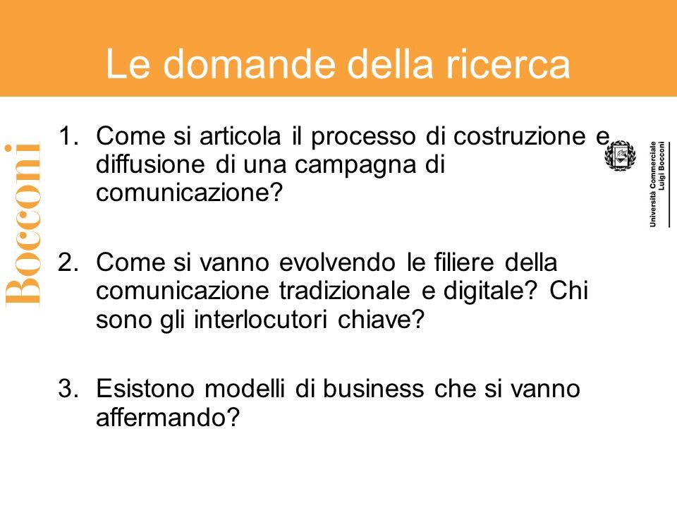 Le domande della ricerca 1.Come si articola il processo di costruzione e diffusione di una campagna di comunicazione? 2.Come si vanno evolvendo le fil