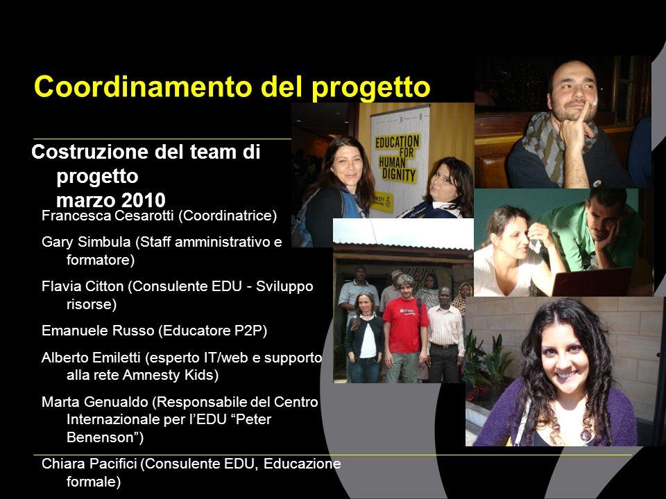 Coordinamento del progetto Costruzione del team di progetto marzo 2010 Francesca Cesarotti (Coordinatrice) Gary Simbula (Staff amministrativo e format