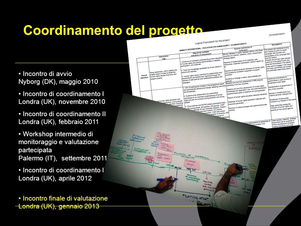 Incontri e coordinamento Workshop intermedio di monitoraggio e valutazione partecipata Palermo (IT), settembre 2011 Lincontro è stato altamente formativo e stimolante perchè ci siamo confrontati e fatto esperienze pratiche sulle possibilità legate al monitoraggio e alla valutazione del progetto.