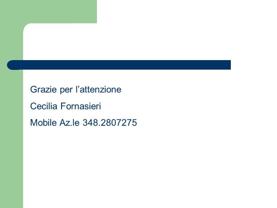 Grazie per lattenzione Cecilia Fornasieri Mobile Az.le 348.2807275