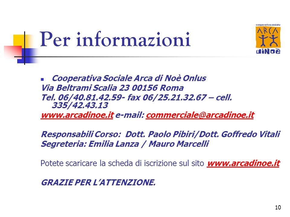 10 Per informazioni Cooperativa Sociale Arca di Noè Onlus Via Beltrami Scalia 23 00156 Roma Tel. 06/40.81.42.59- fax 06/25.21.32.67 – cell. 335/42.43.