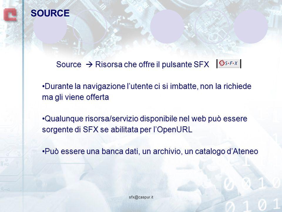 sfx@caspur.it Source Risorsa che offre il pulsante SFX Durante la navigazione lutente ci si imbatte, non la richiede ma gli viene offertaDurante la navigazione lutente ci si imbatte, non la richiede ma gli viene offerta Qualunque risorsa/servizio disponibile nel web può essere sorgente di SFX se abilitata per lOpenURLQualunque risorsa/servizio disponibile nel web può essere sorgente di SFX se abilitata per lOpenURL Può essere una banca dati, un archivio, un catalogo dAteneoPuò essere una banca dati, un archivio, un catalogo dAteneo SOURCE