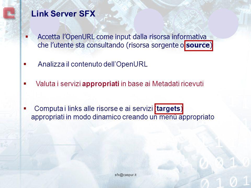 sfx@caspur.it Link Server SFX Accetta lOpenURL come input dalla risorsa informativa che lutente sta consultando (risorsa sorgente o source) Computa i