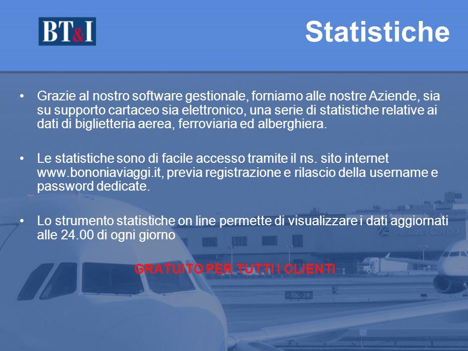 Grazie al nostro software gestionale, forniamo alle nostre Aziende, sia su supporto cartaceo sia elettronico, una serie di statistiche relative ai dati di biglietteria aerea, ferroviaria ed alberghiera.