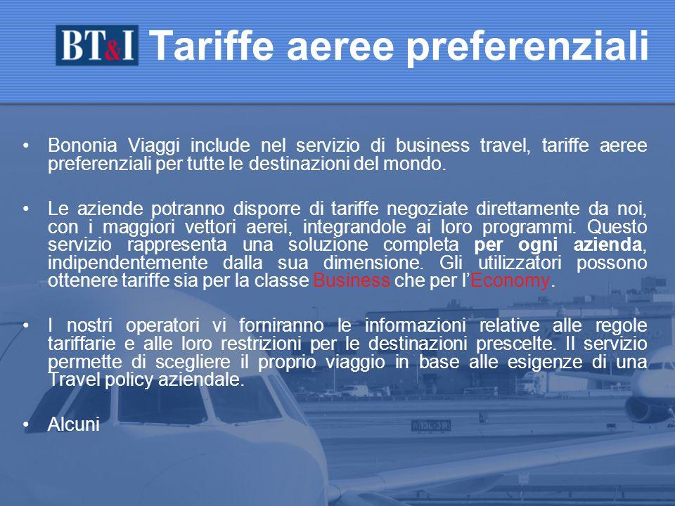 Bononia Viaggi include nel servizio di business travel, tariffe aeree preferenziali per tutte le destinazioni del mondo.