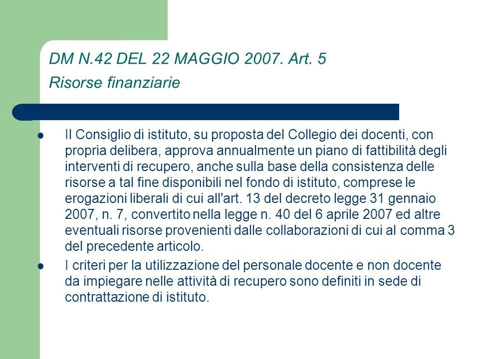 DM N.42 DEL 22 MAGGIO 2007.Art.