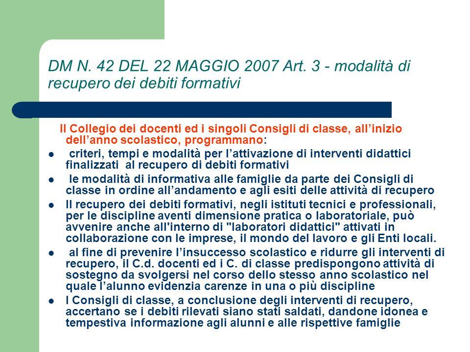 DM N.42 DEL 22 MAGGIO 2007 Art.