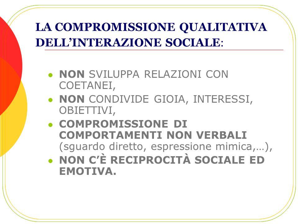 LA COMPROMISSIONE QUALITATIVA DELLINTERAZIONE SOCIALE: NON SVILUPPA RELAZIONI CON COETANEI, NON CONDIVIDE GIOIA, INTERESSI, OBIETTIVI, COMPROMISSIONE