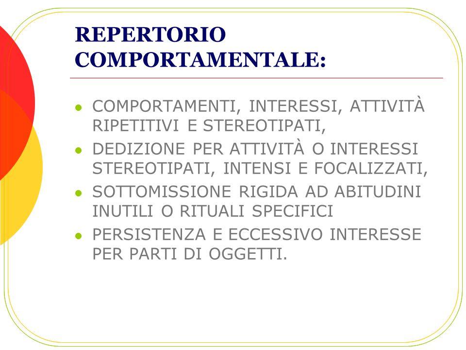 REPERTORIO COMPORTAMENTALE: COMPORTAMENTI, INTERESSI, ATTIVITÀ RIPETITIVI E STEREOTIPATI, DEDIZIONE PER ATTIVITÀ O INTERESSI STEREOTIPATI, INTENSI E F