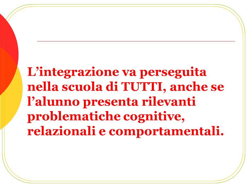 Lintegrazione va perseguita nella scuola di TUTTI, anche se lalunno presenta rilevanti problematiche cognitive, relazionali e comportamentali.