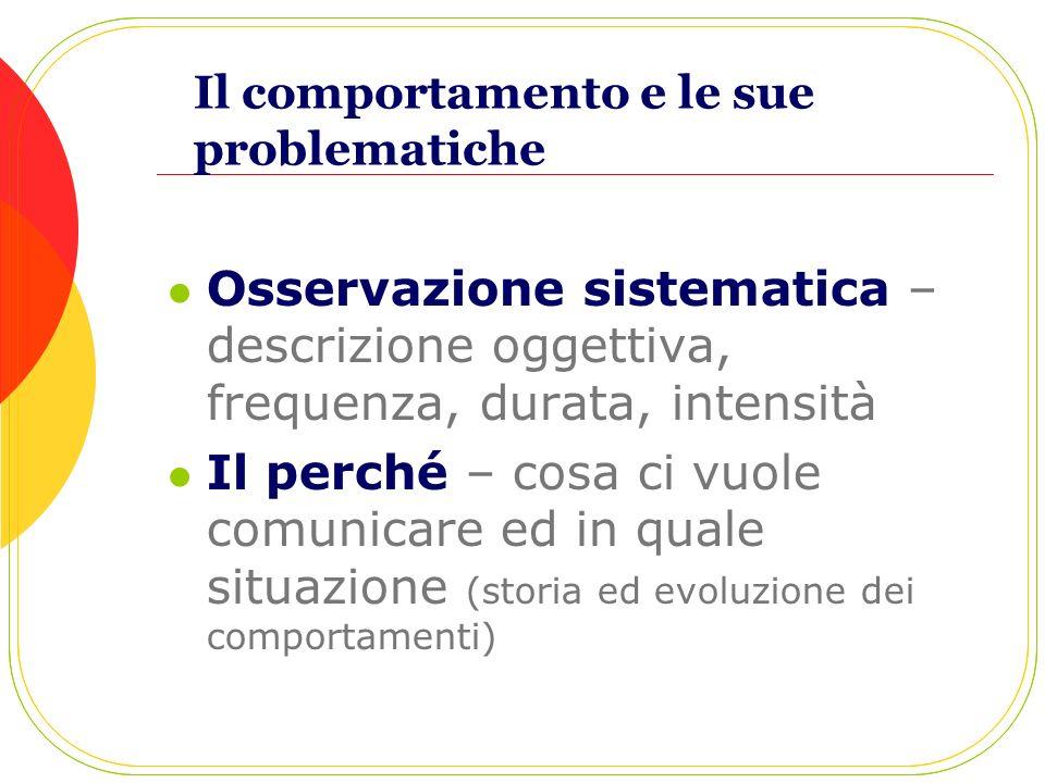 Il comportamento e le sue problematiche Osservazione sistematica – descrizione oggettiva, frequenza, durata, intensità Il perché – cosa ci vuole comun