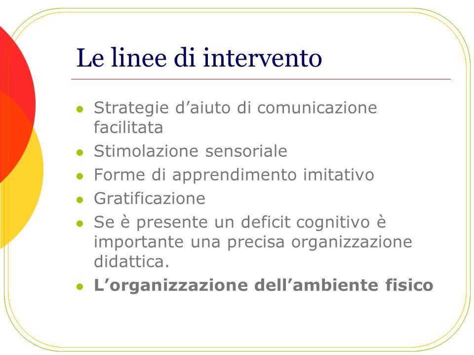 Le linee di intervento Strategie daiuto di comunicazione facilitata Stimolazione sensoriale Forme di apprendimento imitativo Gratificazione Se è prese