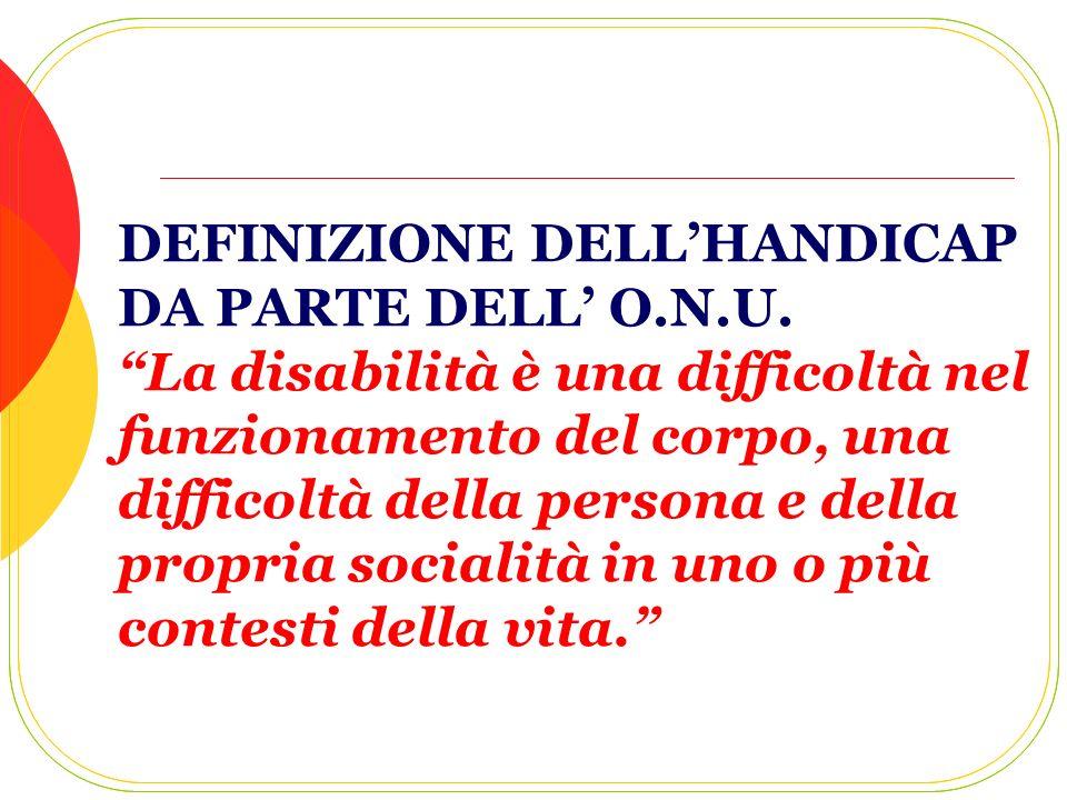 DEFINIZIONE DELLHANDICAP DA PARTE DELL O.N.U. La disabilità è una difficoltà nel funzionamento del corpo, una difficoltà della persona e della propria