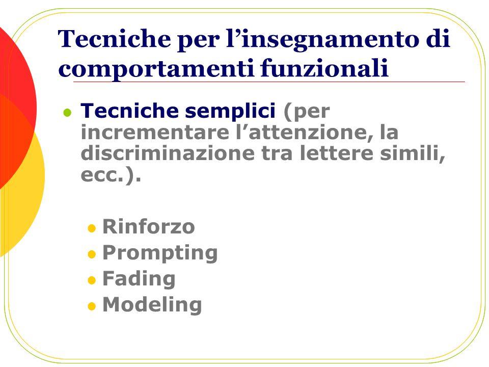 Tecniche per linsegnamento di comportamenti funzionali Tecniche semplici (per incrementare lattenzione, la discriminazione tra lettere simili, ecc.).