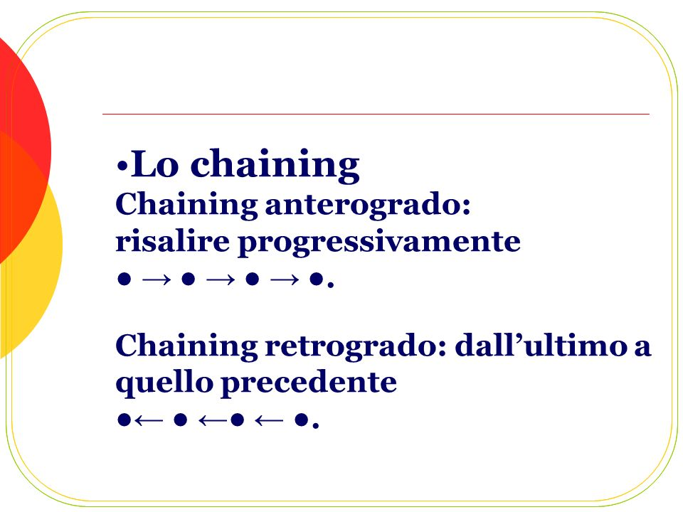Lo chaining Chaining anterogrado: risalire progressivamente. Chaining retrogrado: dallultimo a quello precedente.