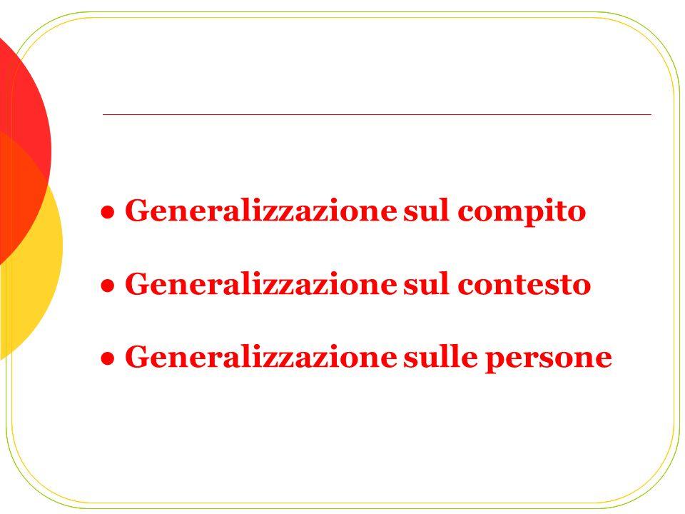 Generalizzazione sul compito Generalizzazione sul contesto Generalizzazione sulle persone