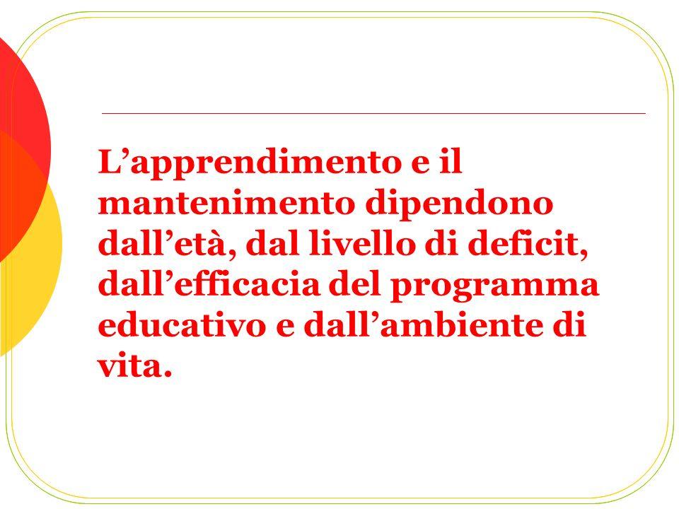 Lapprendimento e il mantenimento dipendono dalletà, dal livello di deficit, dallefficacia del programma educativo e dallambiente di vita.