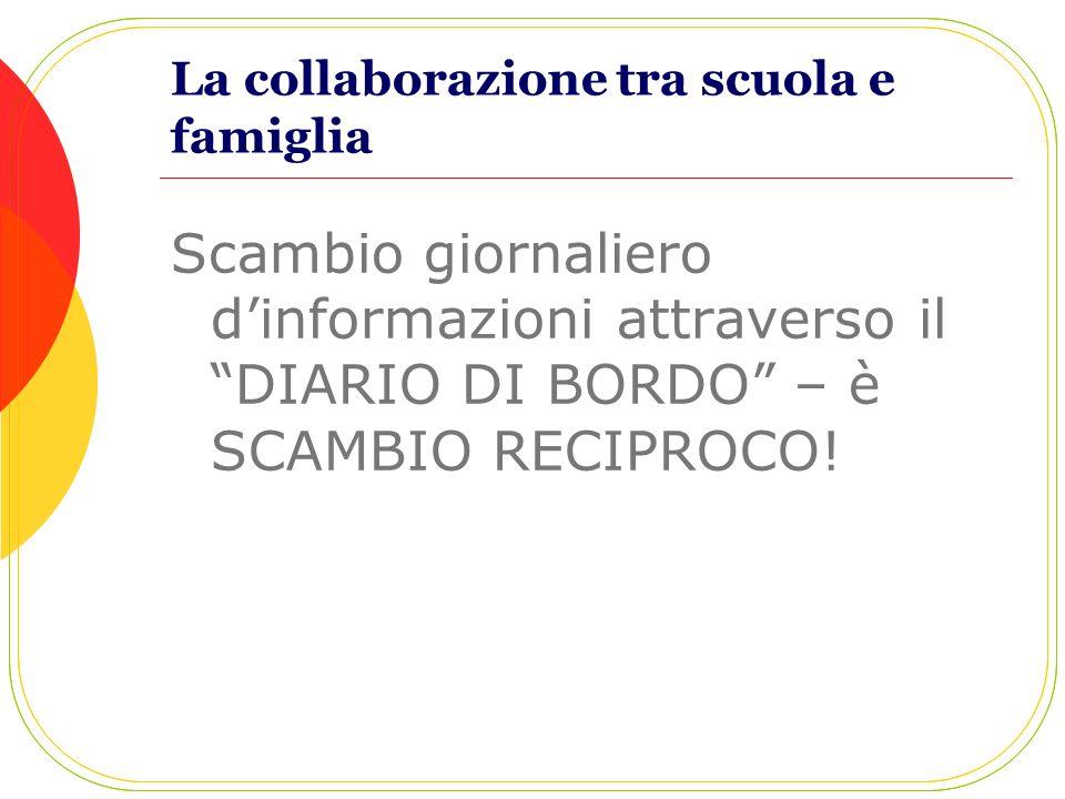 La collaborazione tra scuola e famiglia Scambio giornaliero dinformazioni attraverso il DIARIO DI BORDO – è SCAMBIO RECIPROCO!