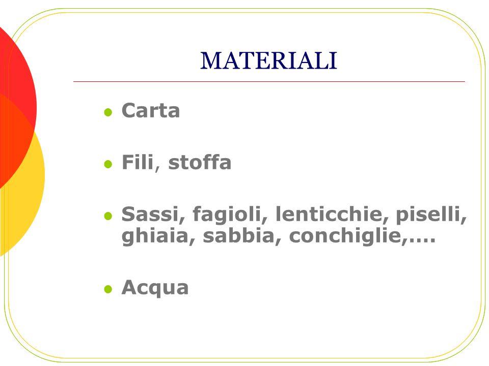 MATERIALI Carta Fili, stoffa Sassi, fagioli, lenticchie, piselli, ghiaia, sabbia, conchiglie,…. Acqua