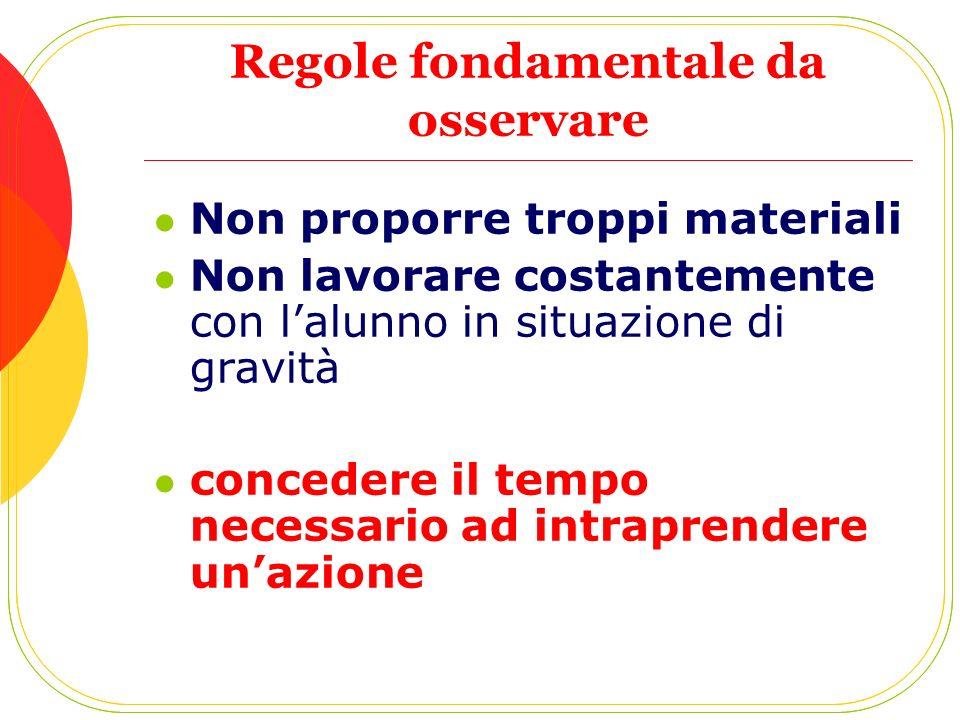Regole fondamentale da osservare Non proporre troppi materiali Non lavorare costantemente con lalunno in situazione di gravità concedere il tempo nece