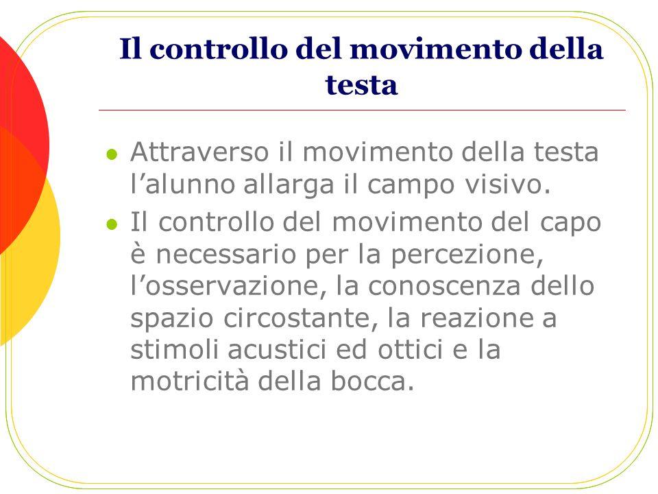 Il controllo del movimento della testa Attraverso il movimento della testa lalunno allarga il campo visivo. Il controllo del movimento del capo è nece